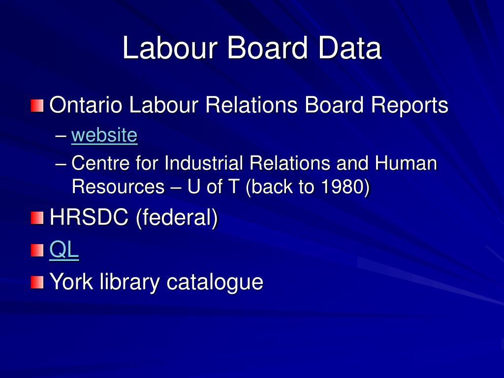 Labour Board Data