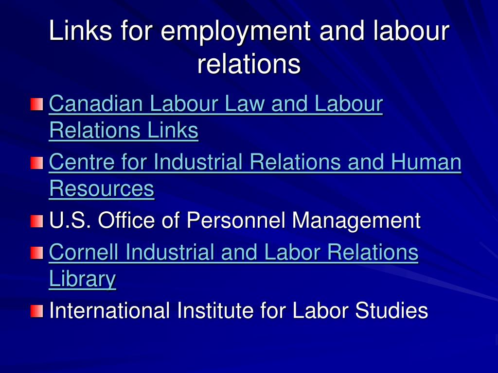 Links for employment and labour relations