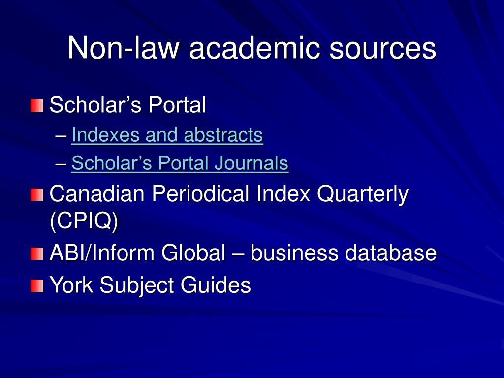 Non-law academic sources