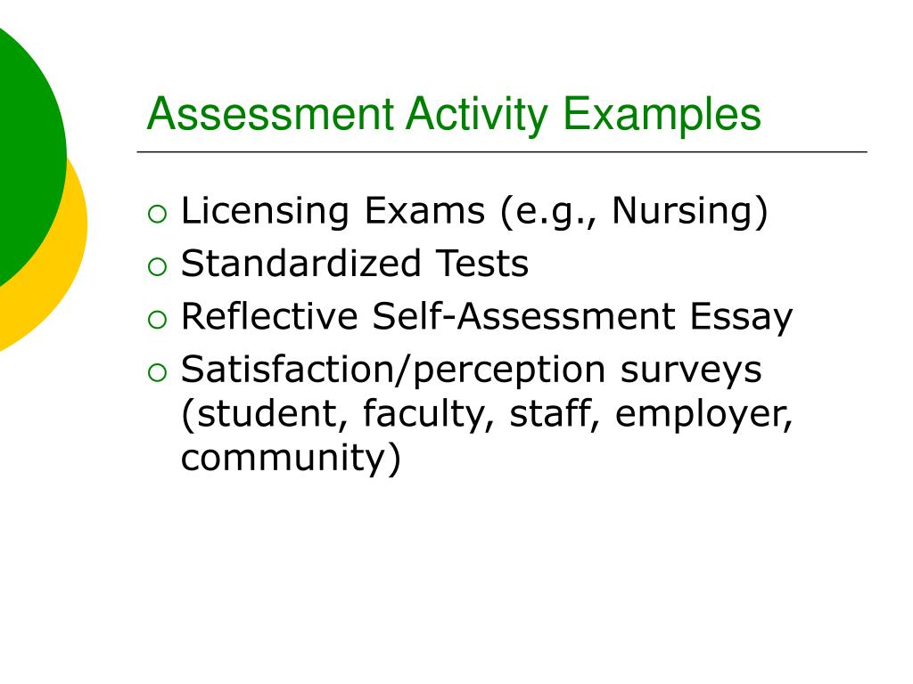 Assessment Activity Examples