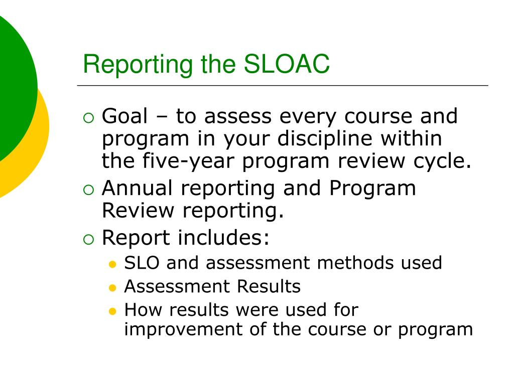 Reporting the SLOAC
