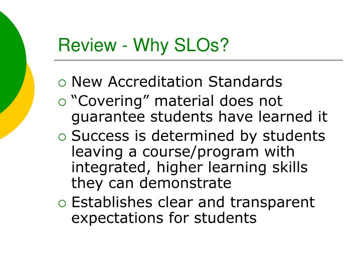 Review why slos