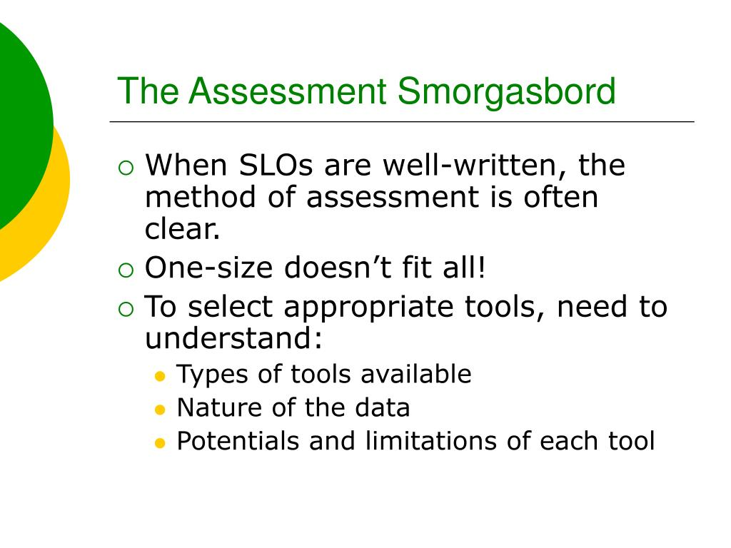 The Assessment Smorgasbord