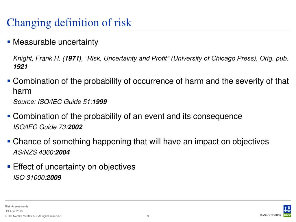 Changing definition of risk