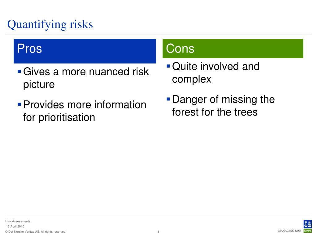 Quantifying risks