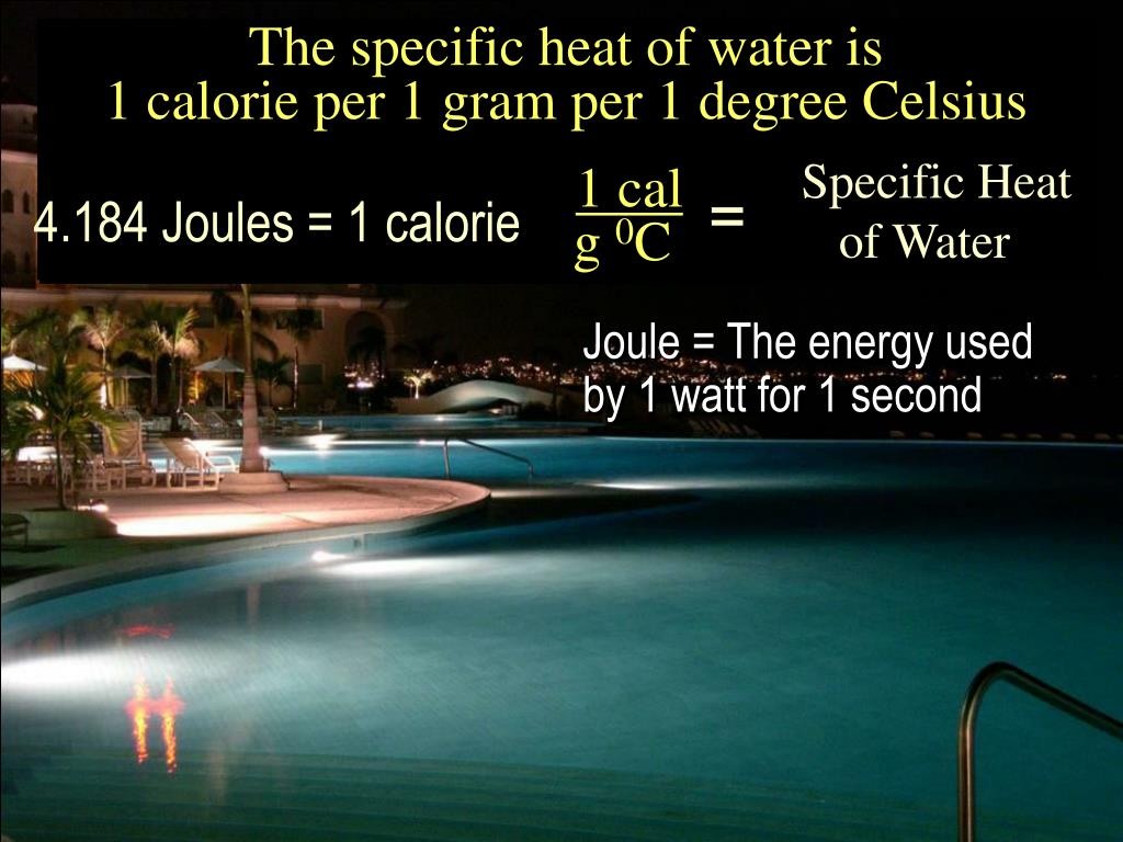 The specific heat of water is