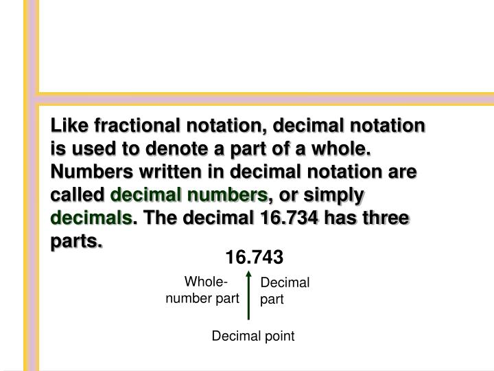 Like fractional notation, decimal notation is used to denote a part of a whole. Numbers written in d...