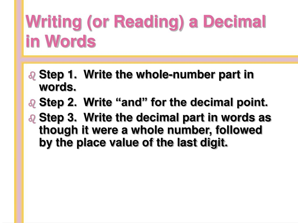 Writing (or Reading) a Decimal in Words