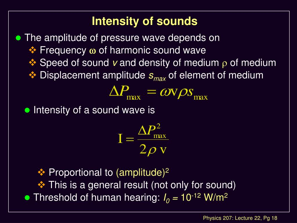 Intensity of sounds
