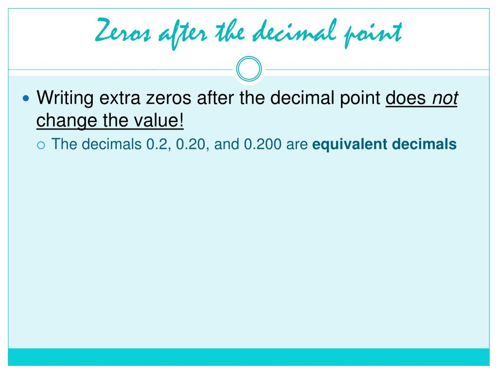 Zeros after the decimal point