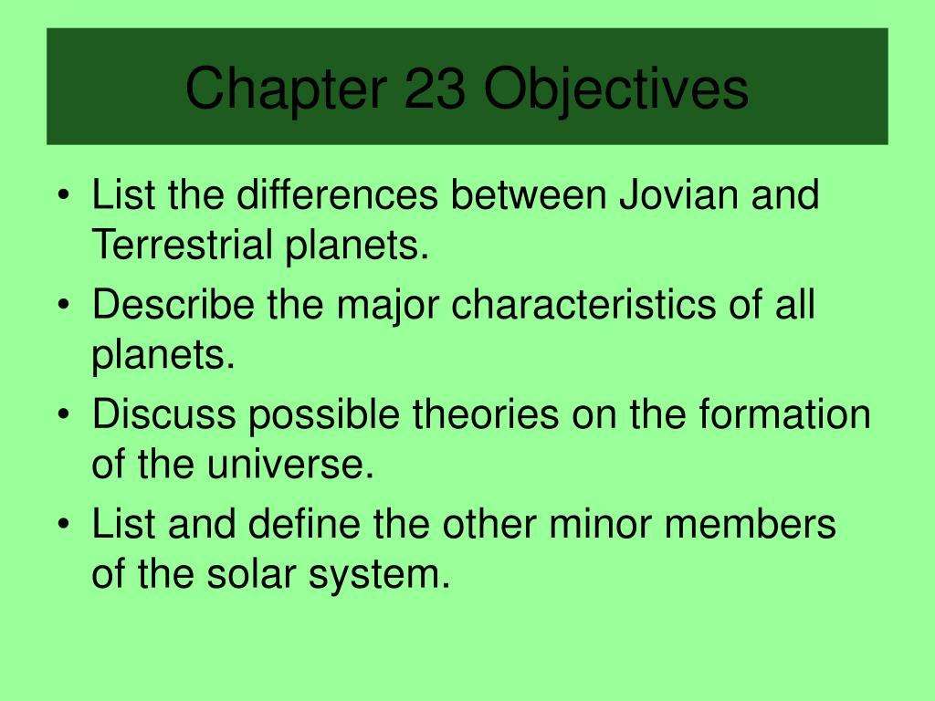 chapter 23 objectives l.