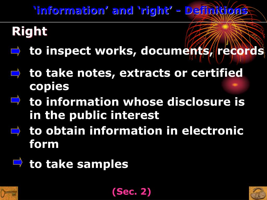 'information' and 'right' - Definitions