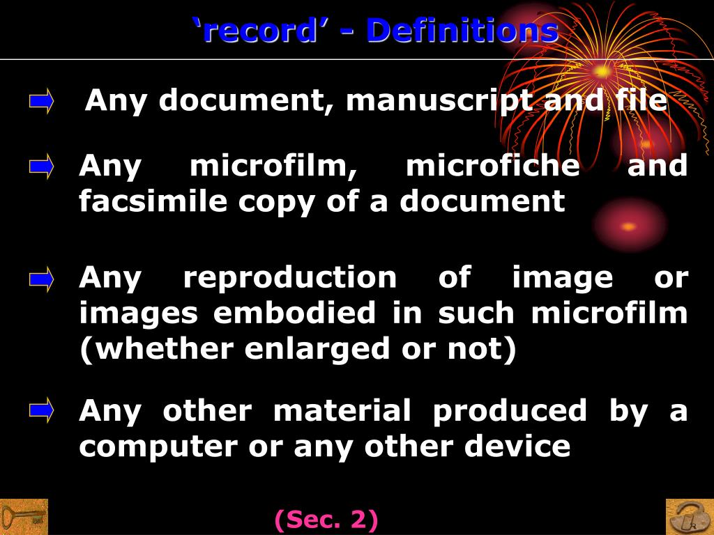 'record' - Definitions