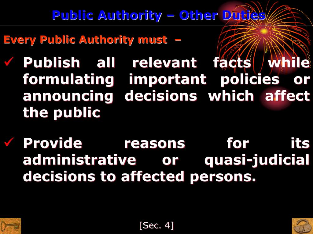 Public Authority – Other Duties