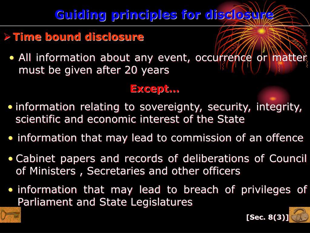 Guiding principles for disclosure
