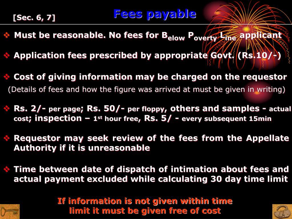 Fees payable