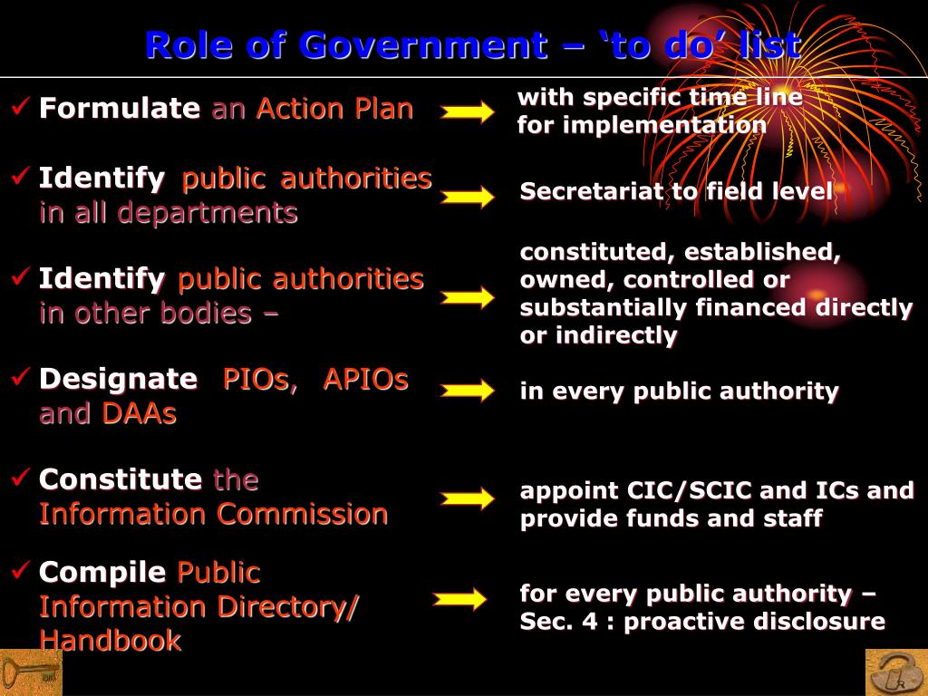 Role of Government – 'to do' list