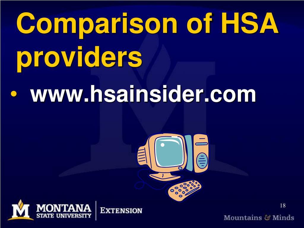 Comparison of HSA providers