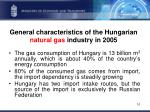 general characteristics of the hungarian natural gas industry in 2005