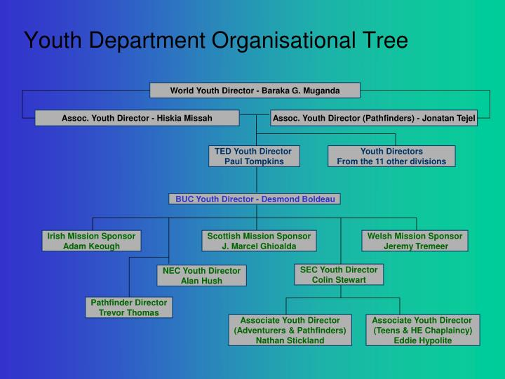 Youth department organisational tree