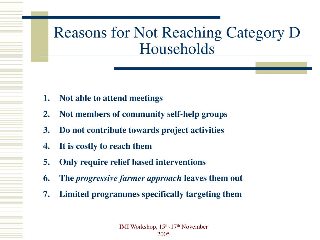 Reasons for Not Reaching Category D Households
