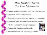 how identity thieves use your information