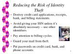 reducing the risk of identity theft