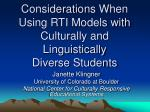 considerations when using rti models with culturally and linguistically diverse students