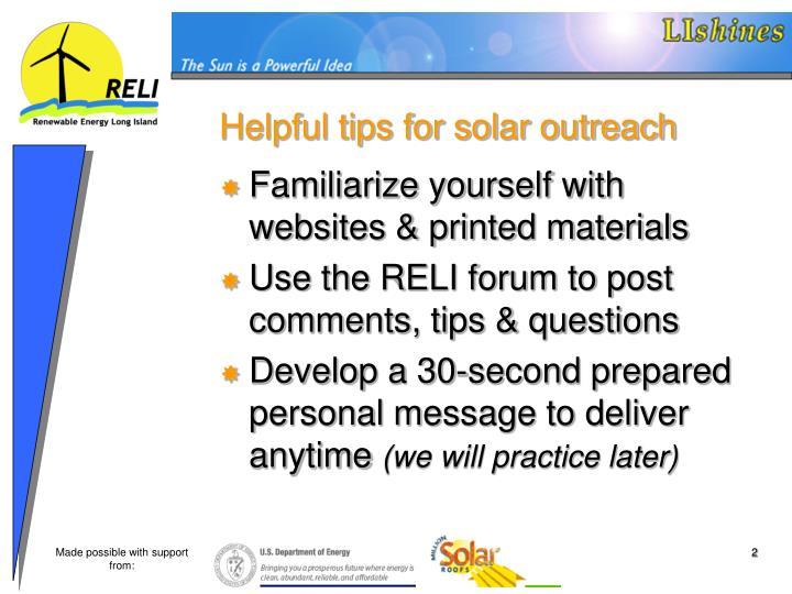 Helpful tips for solar outreach