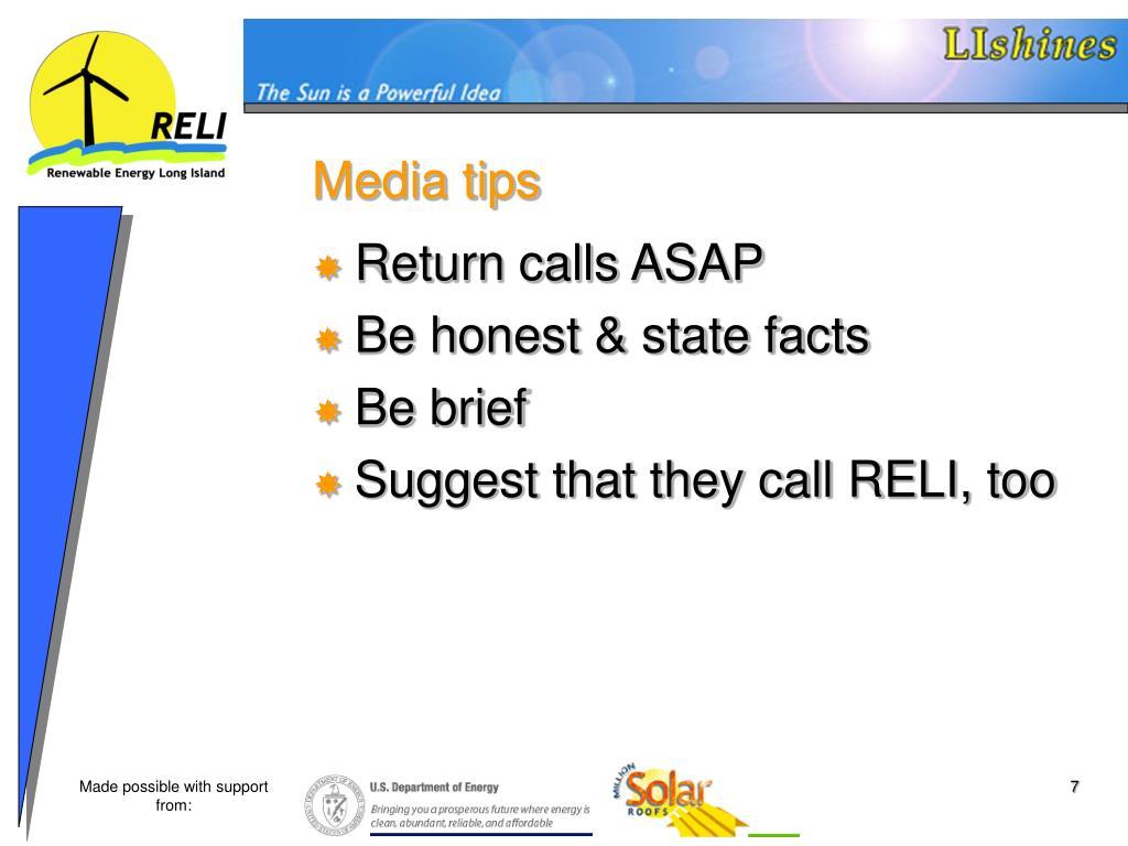 Media tips