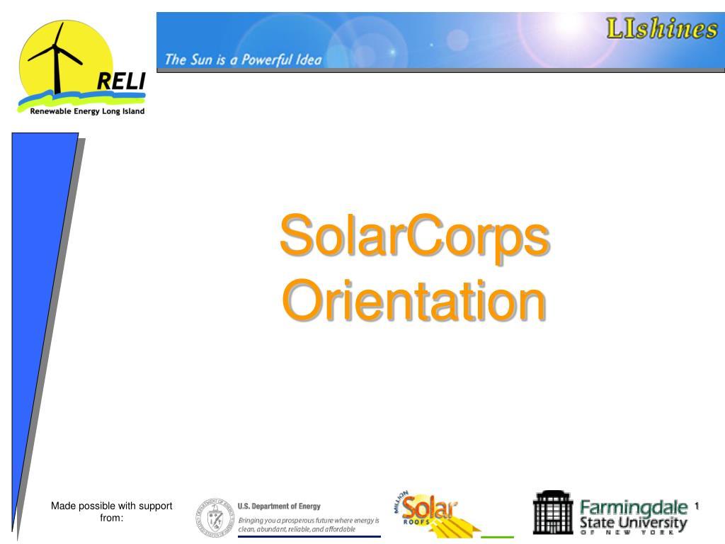 SolarCorps Orientation