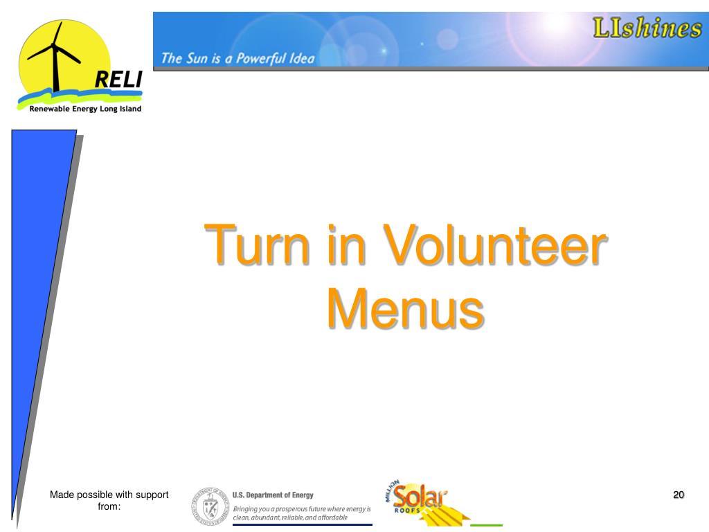 Turn in Volunteer Menus