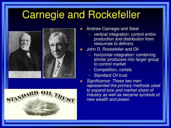 wealth views of carnegie, bellamy, and rockefeller essay I believe that what andrew carnegie and john rockefeller did bettered america, not just although some believe that it isn't fair for one person to control the wealth of millions of people, if we its people like carnegie and rockefeller that make the world spin, that help our economy and i believe that the.