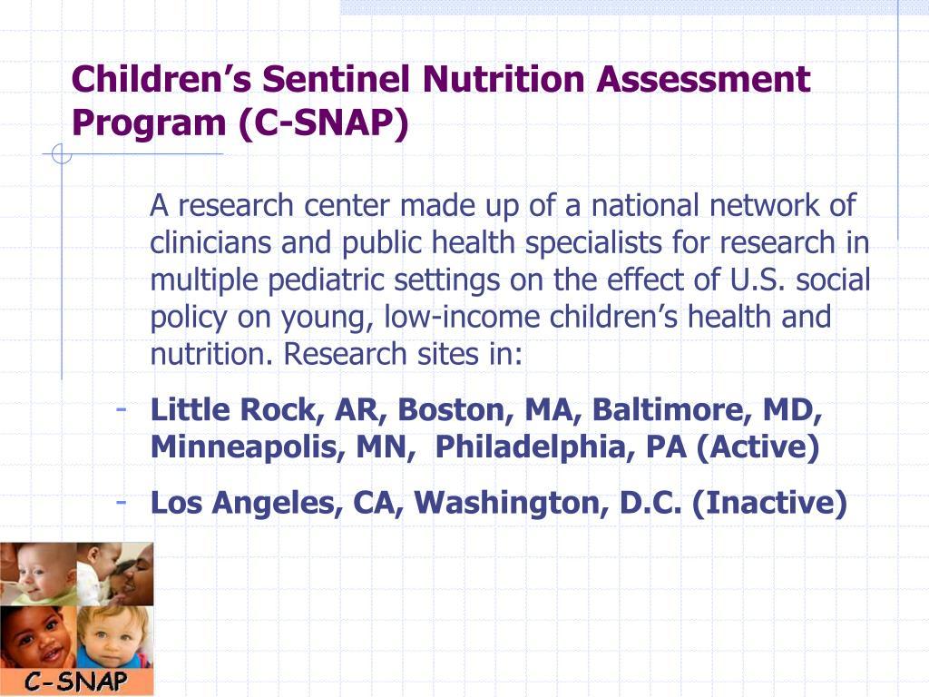 Children's Sentinel Nutrition Assessment Program (C-SNAP)