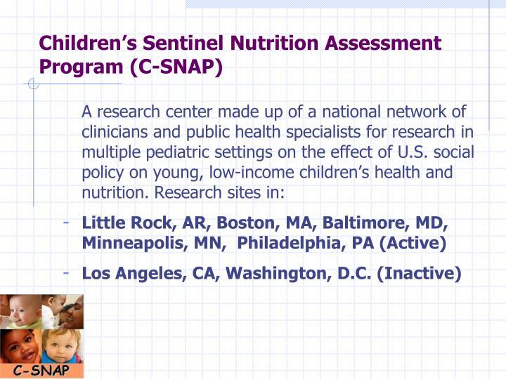 Children s sentinel nutrition assessment program c snap