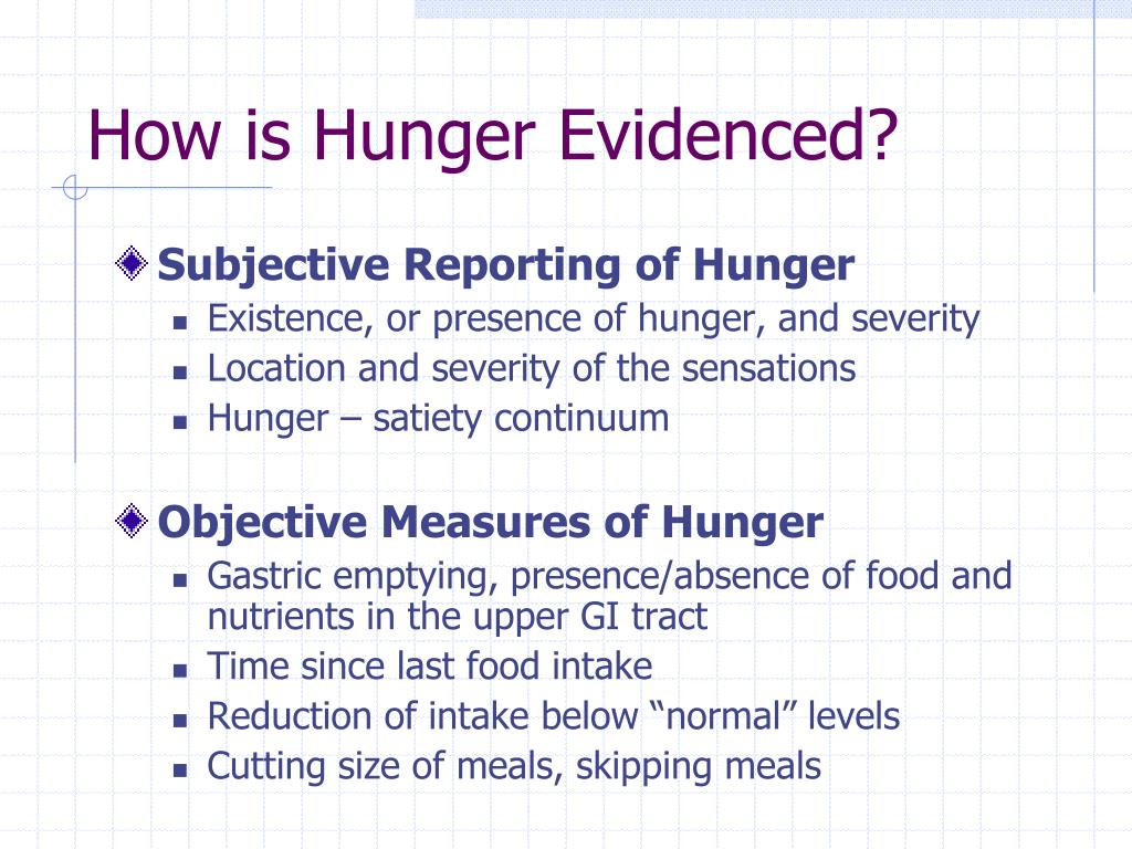 How is Hunger Evidenced?