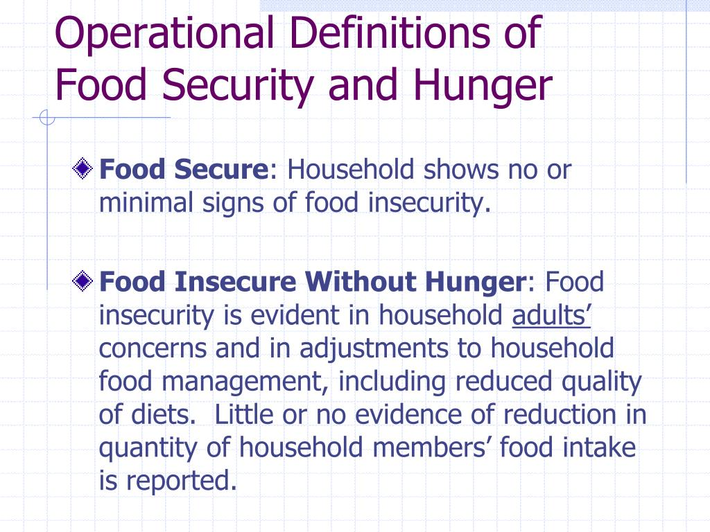 Operational Definitions of Food Security and Hunger