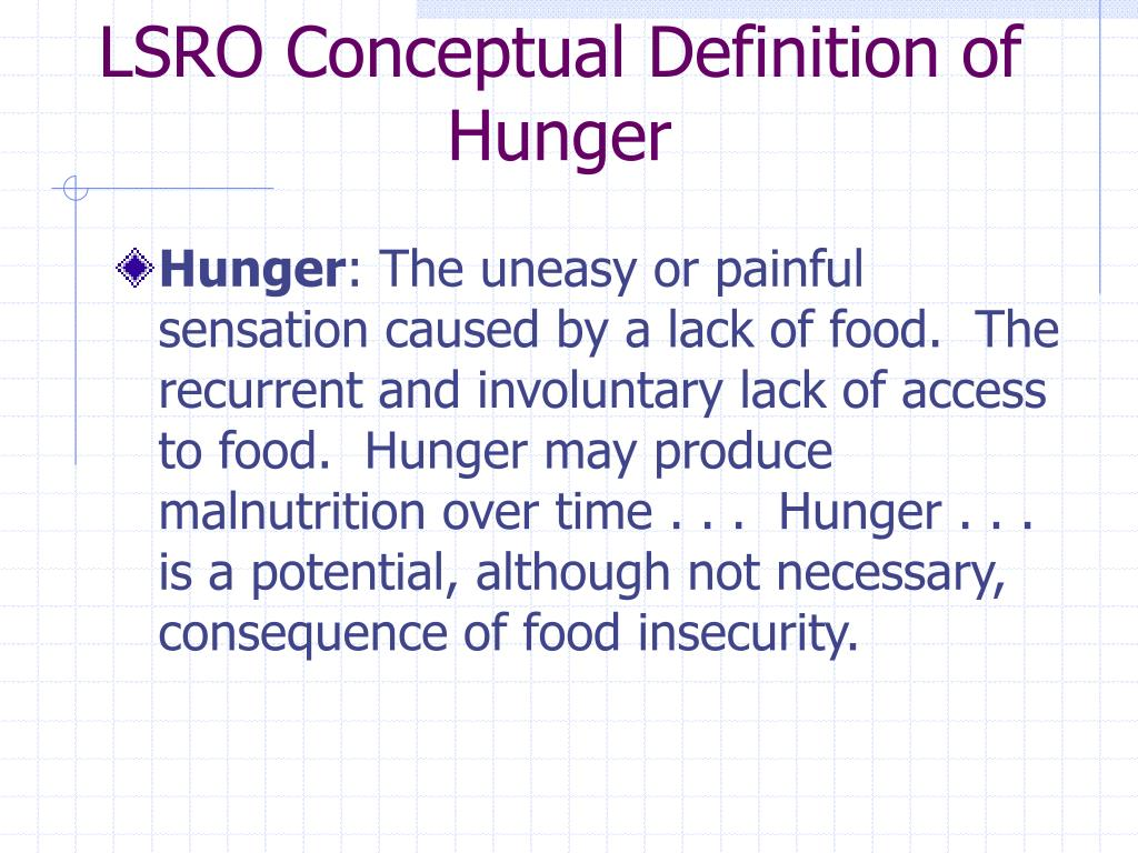 LSRO Conceptual Definition of Hunger