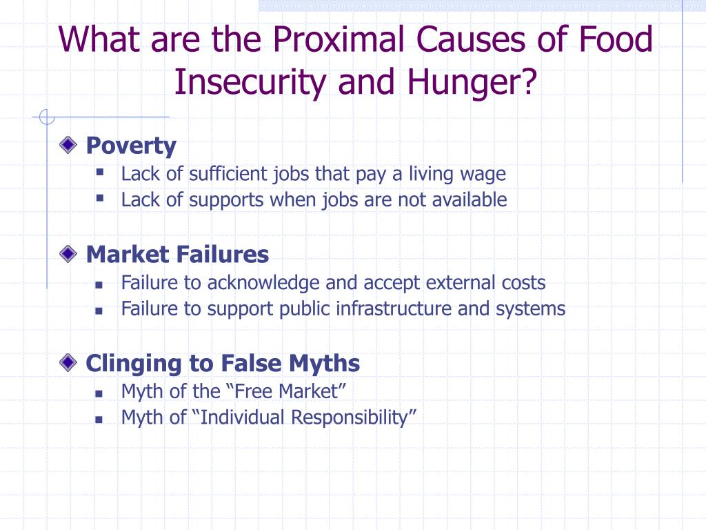 What are the Proximal Causes of Food Insecurity and Hunger?