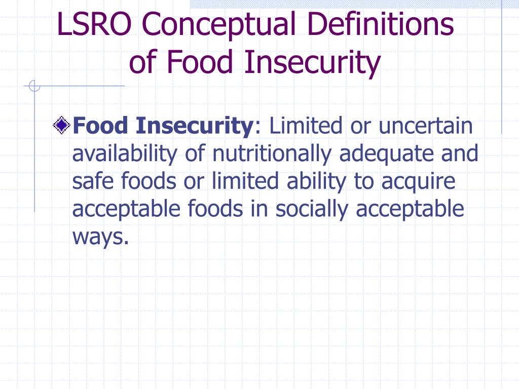 LSRO Conceptual Definitions of Food Insecurity