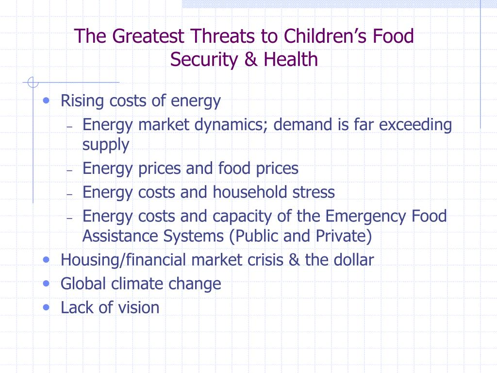 The Greatest Threats to Children's Food Security & Health