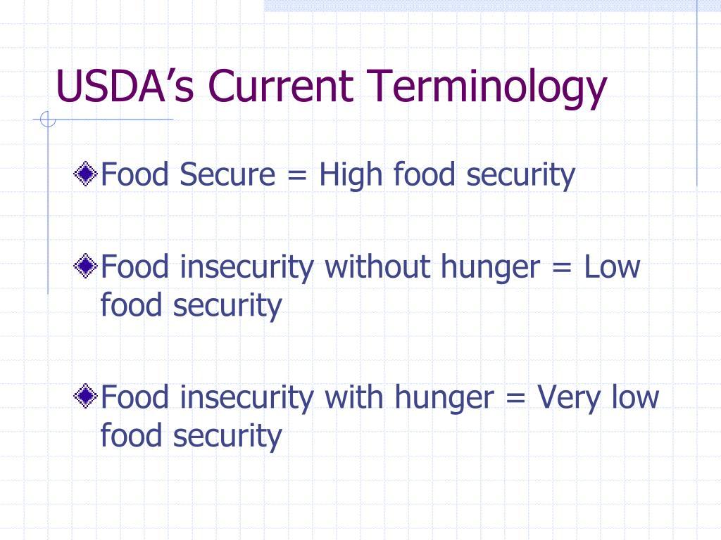 USDA's Current Terminology