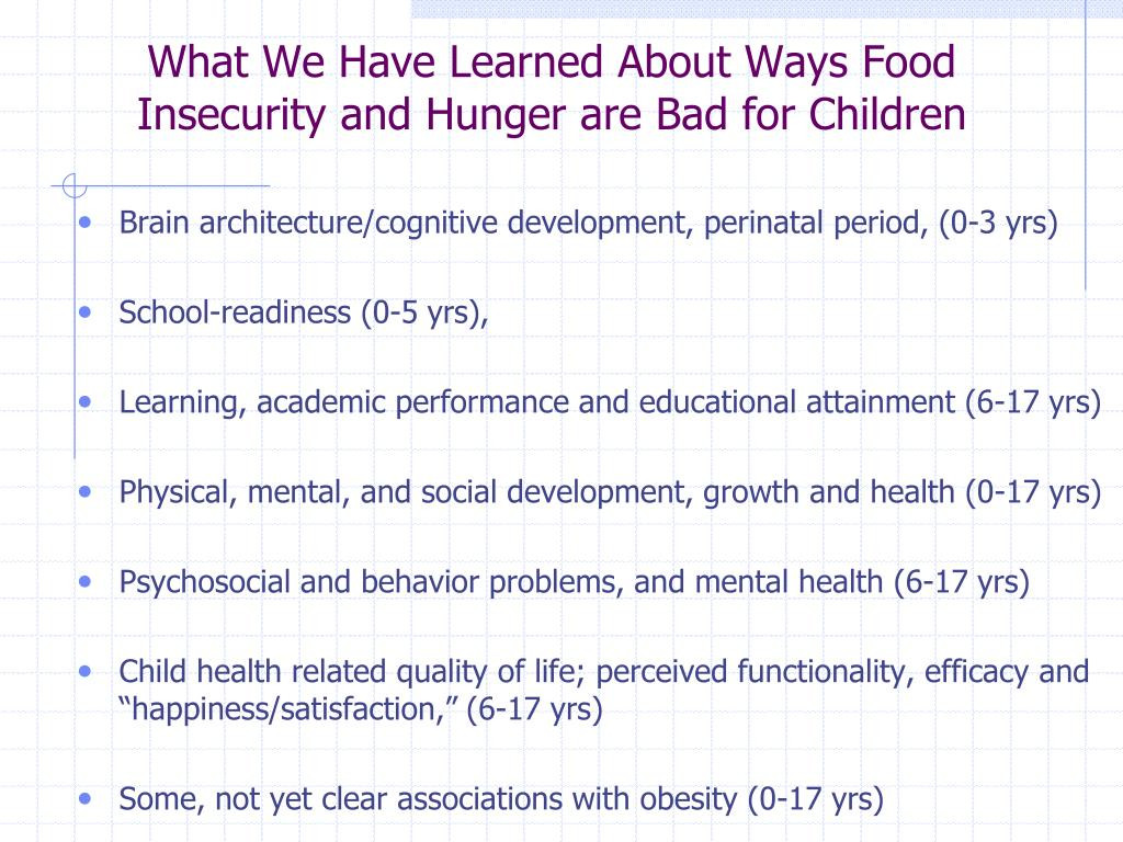 What We Have Learned About Ways Food Insecurity and Hunger are Bad for Children