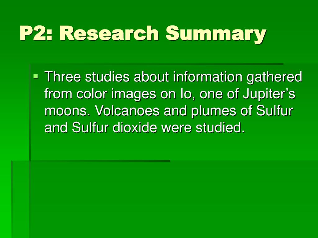 P2: Research Summary