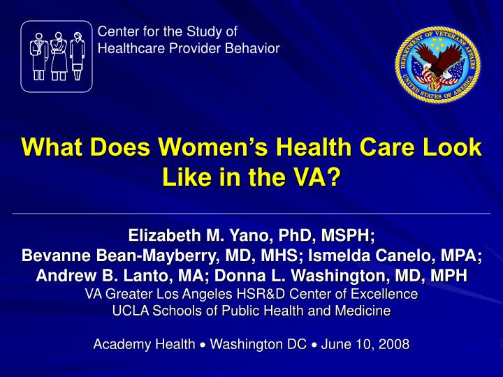 What does women s health care look like in the va