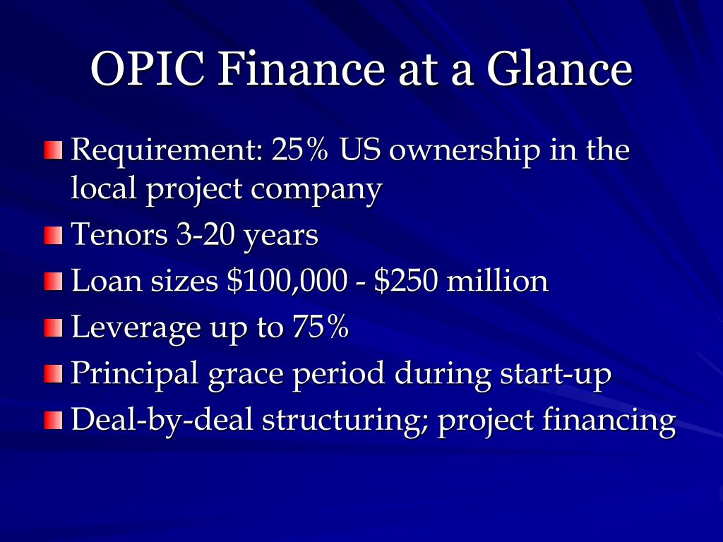 OPIC Finance at a Glance
