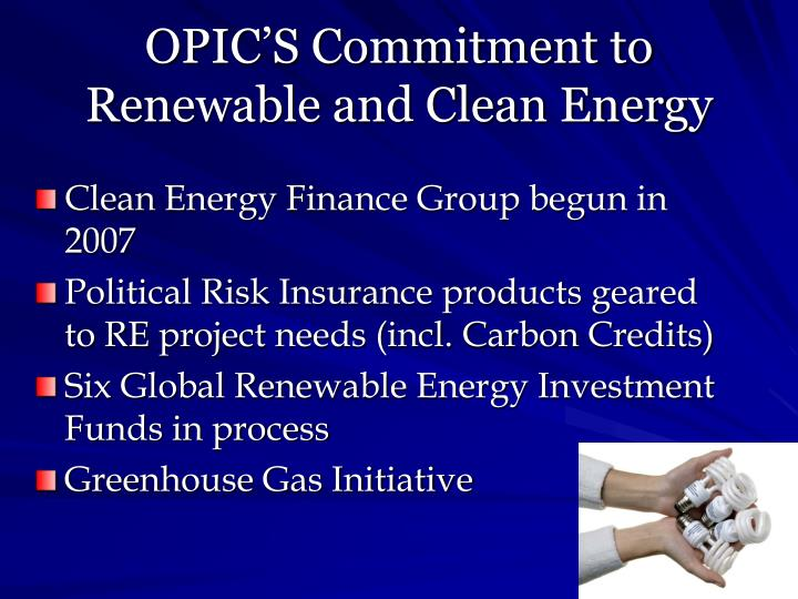 Opic s commitment to renewable and clean energy