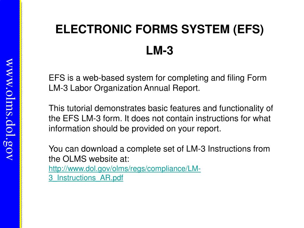 ELECTRONIC FORMS SYSTEM (EFS)