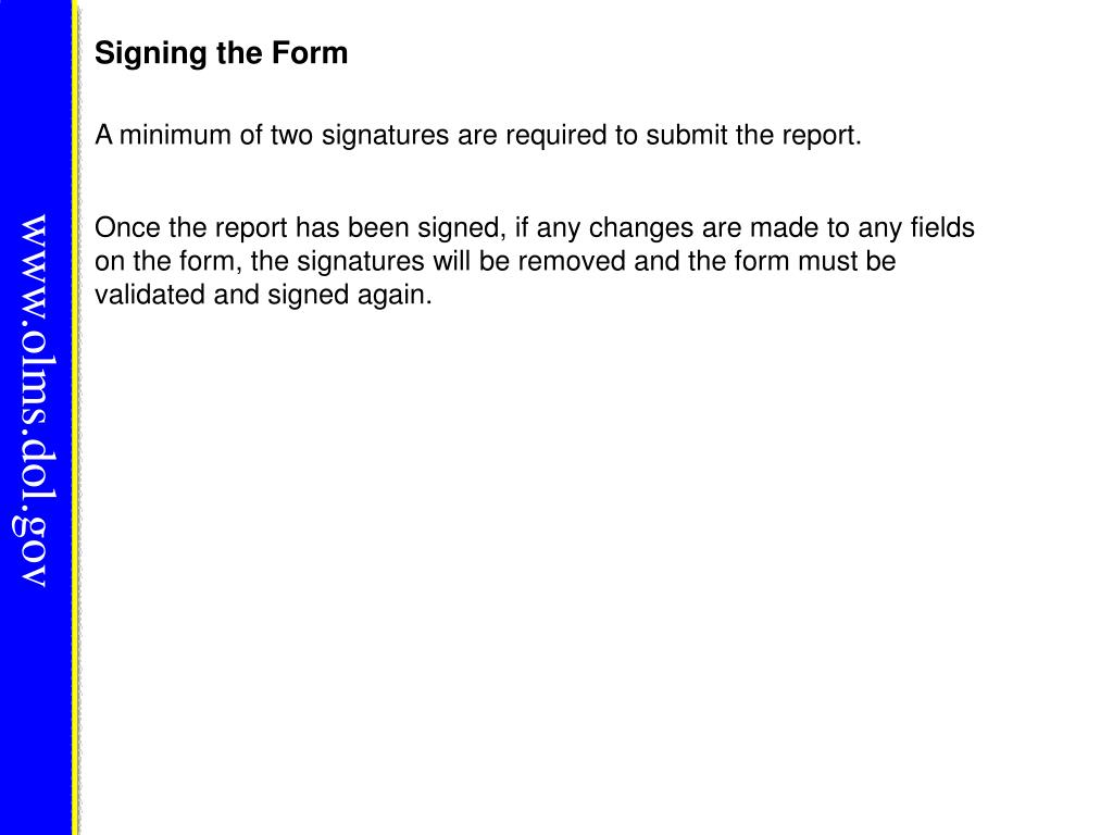 Signing the Form
