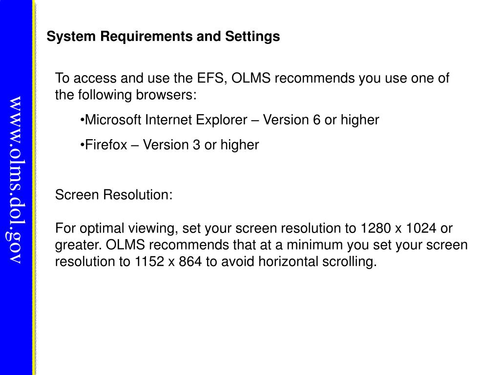 System Requirements and Settings